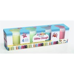 Modellera med glitter 4 pack - JDE Glitter Dough 4x100 g multifärg