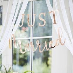 Just Merried Banner Roséguld - Botanical Wedding multifärg