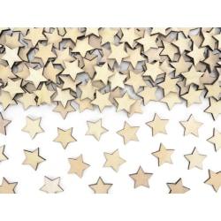 Konfetti i Trä Stjärnor, 2x2cm Natur