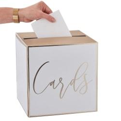 Kortlåda Guld Bröllop - Wedding Post Box Vit
