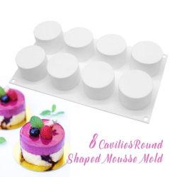 Mousseform Cylinders 8st Runda Silikonform Bakform Chokladform Vit