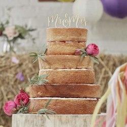 Mr & Mrs Cake Topper i Trä - Boho Bröllop Brun
