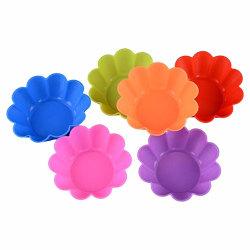 Muffinsformar i Silikon 6-Pack Silikonformar Blommor multifärg