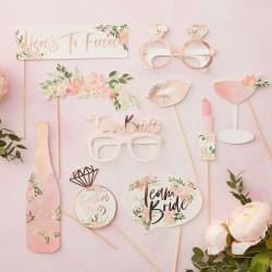 Photo Booth Props Floral - Team Bride Rosa
