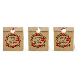 Presentpåsar God Jul, Gift bags Merry Little Christmas, kraft 3- MultiColor