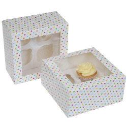 Prickig Muffins Kartong Cupcake Box plats för 4st/2-Pack Rosa