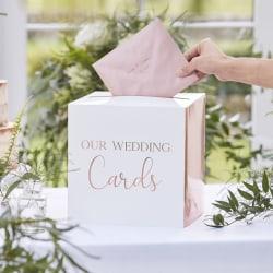 Roséguld Kortlåda Bröllop - Wedding Post Box Rosa guld