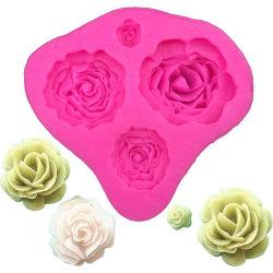 Rosor 4st Blommor Silikonform Gjutform  Rosa