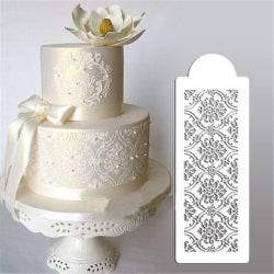 Schablon Tårtstencil Stencil Damask Spets Vit