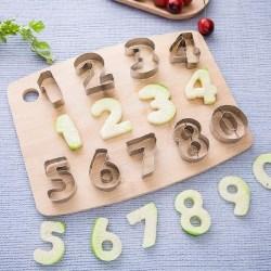 Siffror Kakmått Sifferformar 0-9 Utstickare Rostfritt Stål Cutte Brun