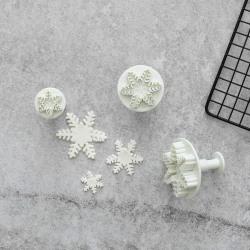 Snöflingor Utstickare 3st   Plunger  Vit