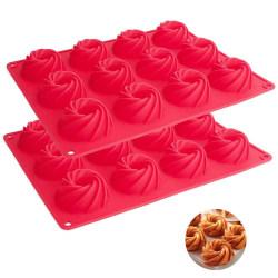 Sockerkaka Spiral Bakform 12st Mousseform Silikonform Rosa