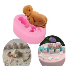 Sovande Bebis Sleeping Baby Babyshower Dop Gjutform Rosa