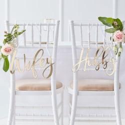 Stolsdekorationer Wifey & Hubby Gold Guld Bröllop Grön