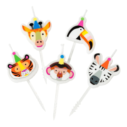 Tårtljus Djur - Party Animals  multifärg