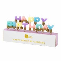 Tårtljus Happy Birthday multifärg