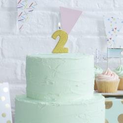Tårtljus Siffra 2 Guld