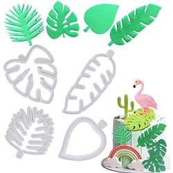 Tropiska Blad Utstickare 4st, Löv Kakmått Vit