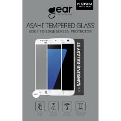 """GEAR Härdat Glas Asahi 5.1"""" Samsung S7 Full Fit Vit"""