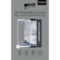 "GEAR Härdat Glas Asahi  Samsung S8 Plus 6,2"" Full Fit Vit"