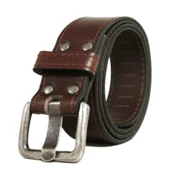 Brunt 35mm jeansbälte i kalvskinn Brown Brun - 125 cm (midjemått)