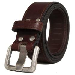 Brunt Läderbälte Brown Brun - 125 cm (midjemått)