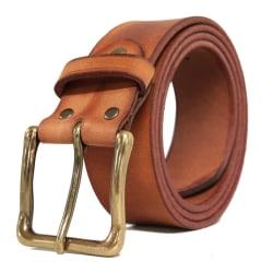 Konjaksbrunt 40mm jeansbälte i kalvläder 95 cm (midjemått)