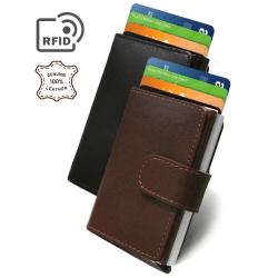 RFID pop-up korthållare i äkta oxläder (brun)