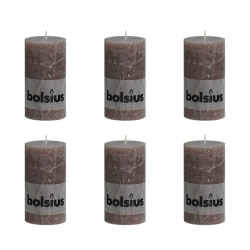 Bolsius Blockljus 130x68 mm 6-pack taupe Brun