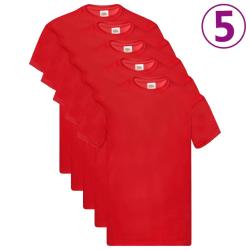 Fruit of the Loom Original T-shirt 5-pack röd stl. XL bomull Röd