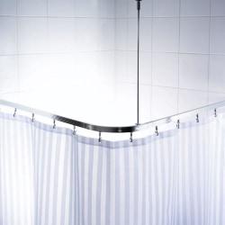 RIDDER Universal duschstång för hörn med krokar krom 52500 Silver
