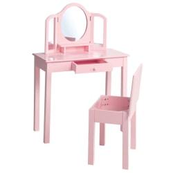roba Sminkbord för barn med pall rosa 68x32x106 cm trä Rosa