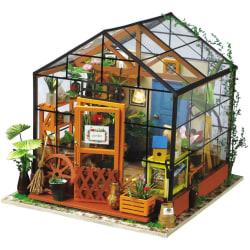 Robotime DIY Miniatyrkit Cathy's Flower House med LED-lampa