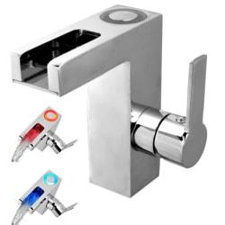 SCHÜTTE Tvättställsblandare LED med vattenfall ORINOCO krom Silver