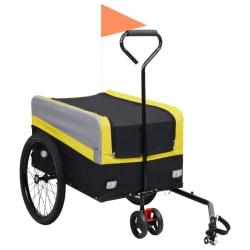 vidaXL 2-i-1 XXL Cykelvagn med handtag grå och svart Gul