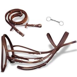 vidaXL Aachengrimma med bett och tyglar brun läder stor Brun