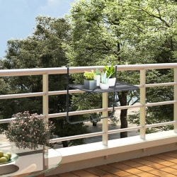 vidaXL Balkongbord svart 60x40 cm stål Svart