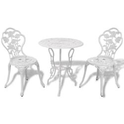 vidaXL Caféset 3 delar gjuten aluminium vit Vit