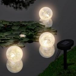 vidaXL Flytande LED solcellslampor för damm 3 st Vit
