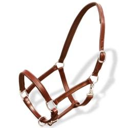 vidaXL Grimma i äkta läder justerbar brun i storlek ponny Brun