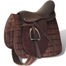 """vidaXL Hästsadel set 17,5"""" brunt riktigt läder 12 cm 5-i-1 Brun"""