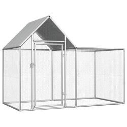 vidaXL Hönsbur 2x1x1,5 m galvaniserat stål Silver