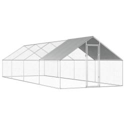 vidaXL Hönsbur för utomhusbruk 2,75x8x1,92 m galvaniserat stål Silver