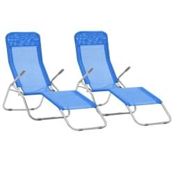vidaXL Hopfällbara solsängar 2 st textilene blå Blå
