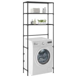 vidaXL Hylla för tvättmaskin med 3 hyllplan svart 69x28x169 cm Svart