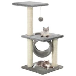 vidaXL Katt klösträd med klöspelare i sisal 65 cm grå Grå