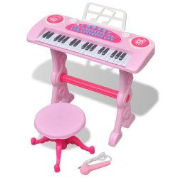 vidaXL Keyboard för barn med pall och mikrofon 37 tangenter rosa Rosa
