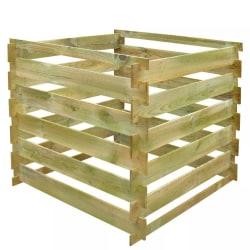 vidaXL Kompostbehållare 0,54 m3 fyrkantig trä Brun