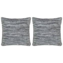 vidaXL Kuddar 2 st chindi grå 45x45 cm läder och bomull Grå