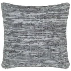 vidaXL Kudde chindi grå 60x60 cm läder och bomull Grå